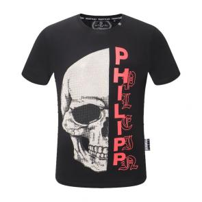 new philipp plein hommes t-shirt pearl decoration black